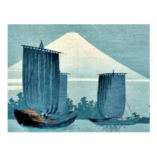 UeharaのKonenの浮世絵著ヨットそして富士山 ポストカード