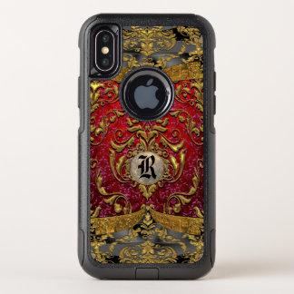 Ufaycicleのバロック式のダマスク織の名前入りなモノグラム オッターボックスコミューターiPhone X ケース