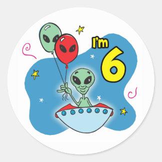 UFOのエイリアンの第6誕生日 ラウンドシール