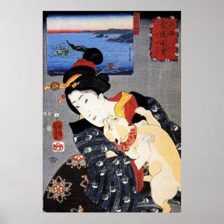 Ukiyo-e Woodblockの芸術-芸者及び猫 ポスター