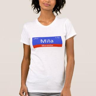 Ulica Mila、ワルシャワのポーランドの道路標識 Tシャツ