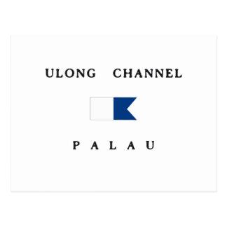 Ulongチャネルのパラオ諸島のアルファ飛び込みの旗 ポストカード