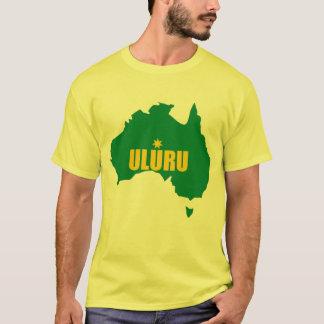 Uluruの緑および金ゴールドの地図のTシャツ Tシャツ