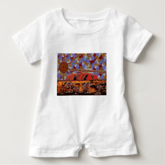 Uluru -確実な原生の芸術 ベビーロンパース