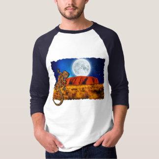 Uluru Ayerの石及びオーストラリアのヤモリの芸術のワイシャツ Tシャツ