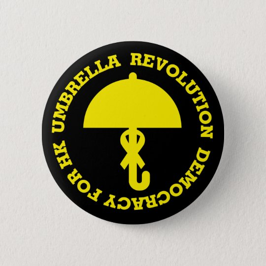 UMBRELLA REVOLUTION, DEMOCRACY FOR HK. 5.7CM 丸型バッジ