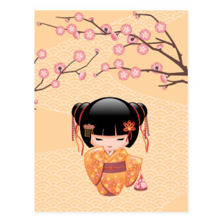 Ume Kokeshiの人形-日本のなモモの芸者女の子 ポストカード