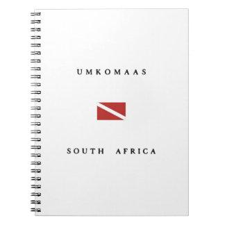 Umkomaas南アフリカ共和国のスキューバ飛び込みの旗 ノートブック