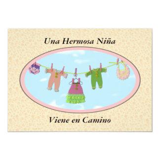 Una HermosaのniñaのViene en Camino/ベビーシャワー カード