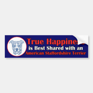 uncroppedアメリカの(犬)スタッフォードの本当の幸福 バンパーステッカー