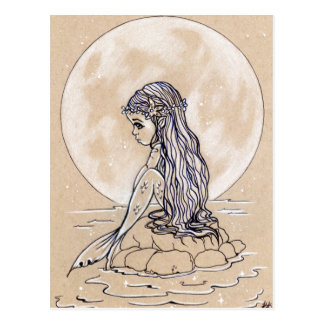 Under a full moon little mermaid postcard ポストカード