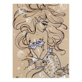 Underwater Mermaid Fish  Postcard ポストカード
