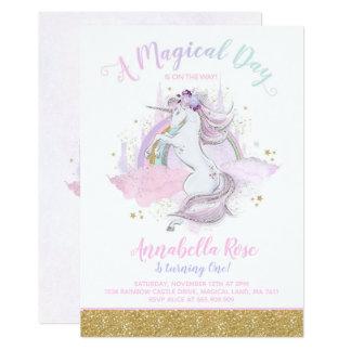 Unicorn Birthday Invitation Rainbow Unicorn Party カード