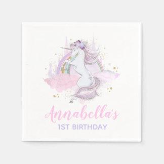 Unicorn Birthday Party Napkin Rainbow Unicorn スタンダードカクテルナプキン