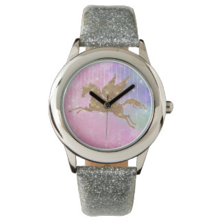 Unicorn Gold Sparkle Pink Silver Wrist Watch 腕時計