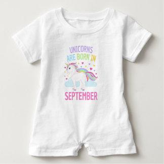 Unicorns are Born in September Cute Unicorn ベビーロンパース