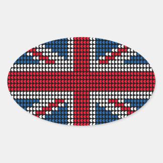 Union Jack Heart 卵形シール・ステッカー