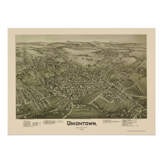 UniontownのPAのパノラマ式の地図- 1897年 ポスター