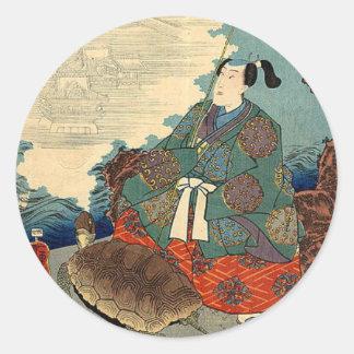 Urashimaのタロイモおよびカメの日本のなおとぎ話 ラウンドシール