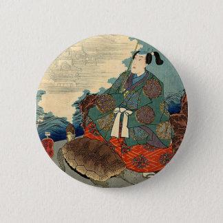 Urashimaのタロイモおよびカメの日本のなおとぎ話 5.7cm 丸型バッジ