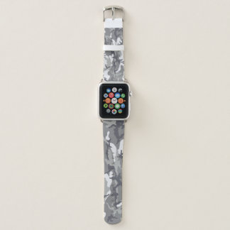 Urban Camouflage Grey and White Pattern Military Apple Watchバンド