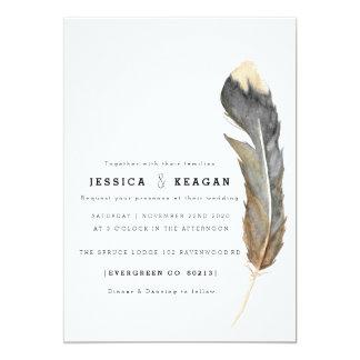 Urban Feather Wedding Invite 12.7 X 17.8 インビテーションカード