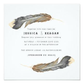 Urban Feather Wedding Invite 13.3 スクエアインビテーションカード