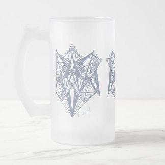 UrbnCapeの青い幾何学デザイナー曇らされたガラス フロストグラスビールジョッキ