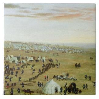 Uruguaianaのキャンプ、リオ・グランデ川、ブラジル1865年(油 タイル