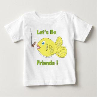 us_Be_friends_Cartoon_Fish_and_Wormを許可して下さい ベビーTシャツ