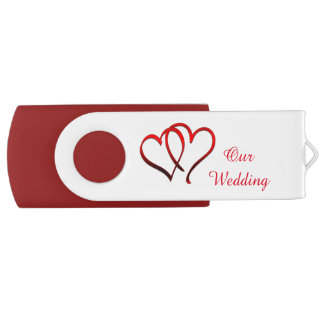 USBドライブを結婚する赤い二重ハート USBフラッシュドライブ