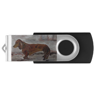 USB Flashdriveを絵を描いているダックスフント USBフラッシュドライブ