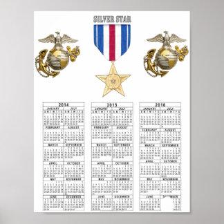 USMCの銀製の星 ポスター