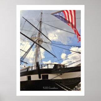 USS Constellationの高い船のボルティモア港の写真 ポスター