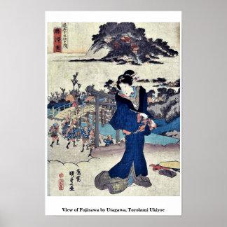 UtagawaのToyokuniの浮世絵著藤沢の眺め ポスター