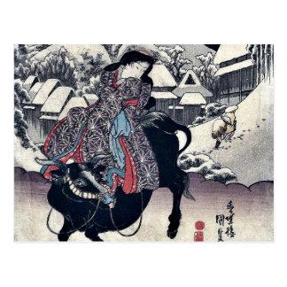 UtagawaのToyokuniの浮世絵著Kanbaraの写真 ポストカード