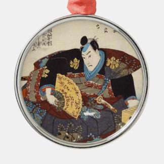 Utagawaクラシックなヴィンテージのukiyo-eの日本の武士 メタルオーナメント