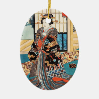 Utagawaクラシックなヴィンテージのukiyo-eの日本の芸者 セラミックオーナメント