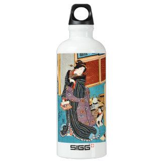 Utagawaクラシックなヴィンテージのukiyo-eの芸者およびnekko ウォーターボトル