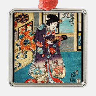 Utagawaクラシックな日本のヴィンテージのukiyo-eの芸者 メタルオーナメント
