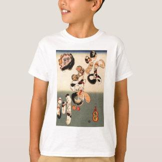 Utagawa著ナマズのためのcaractersを形作っている猫 Tシャツ