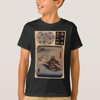 Utagawa著Ujiの川を浅瀬を渡っているSasaki Takatsuna Tシャツ