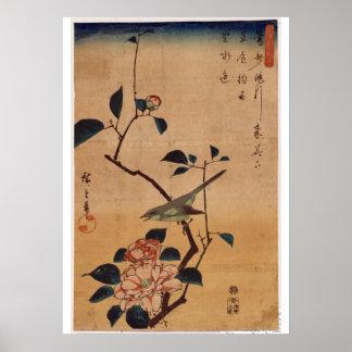 Utagawa Hiroshige、ツバキおよびブッシュのアメリカムシクイ1844年 ポスター