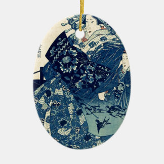 Utagawa、Kuniyoshi著OgiyaのCourtesan Hanao セラミックオーナメント