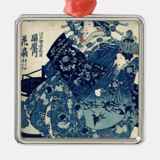 Utagawa、Kuniyoshi著OgiyaのCourtesan Hanao メタルオーナメント
