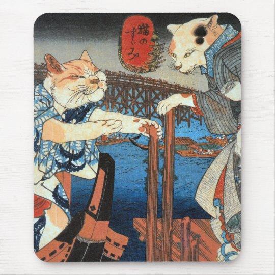 Utagawa Kuniyoshi, cats enjoying cool air マウスパッド