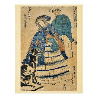 Utagawa、Sadahide著アコーディオンを遊んでいる女性 ポストカード