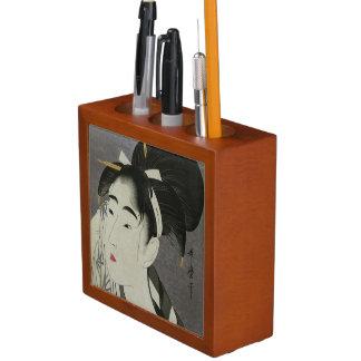 Utamaroの芸術の机のオルガナイザー ペンスタンド