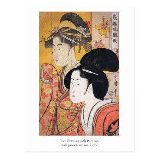 Utamaroタケとの2つの美しい ポストカード