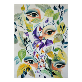Utopian Psychedelic Surreal Eyes Design ポスター